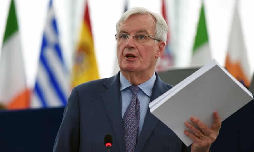Michel Barnier speaks at a Brexit debate in Strasbourg on Wednesday