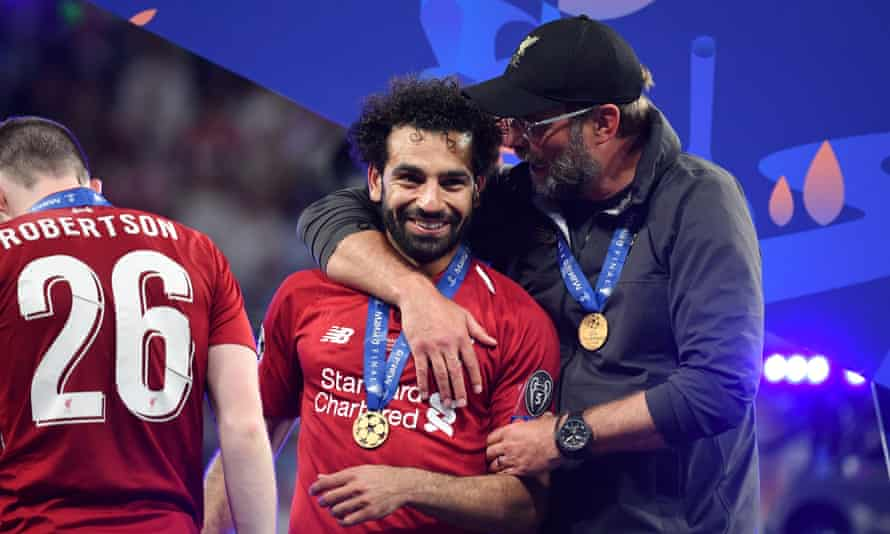 Mohamed Salah with Jürgen Klopp after Liverpool's victory in the 2019 Champions League final.