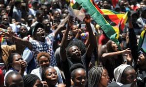University of Zimbabwe students protest against Robert Mugabe in Harare.