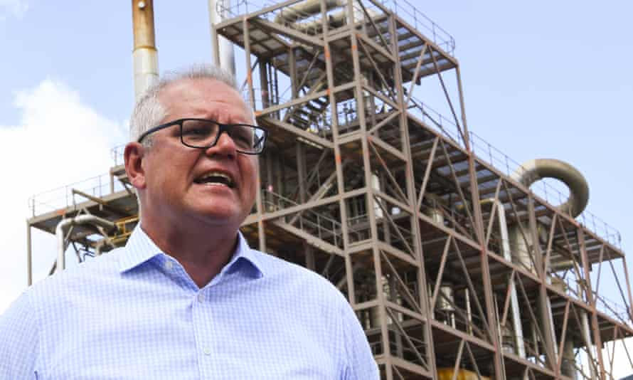 Australian prime minister Scott Morrison visits Northern Oil Refinery in Gladstone, Queensland in January 2021