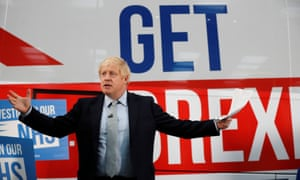 Boris Johnson in front of his 'Get Brexit done' campaign bus