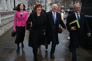 """London, England(L-R) Conservative MP's Theresa Villiers, Nicky Morgan, Iain Duncan Smith and Owen Paterson leave the Cabinet Office on Whitehall. Britain's Prime Minister Theresa May is now seeking to renegotiate her EU Withdrawl deal, particularly its contentious """"backstop"""" provision to keep the Irish border free-flowing, in a bid to secure parliament's support."""