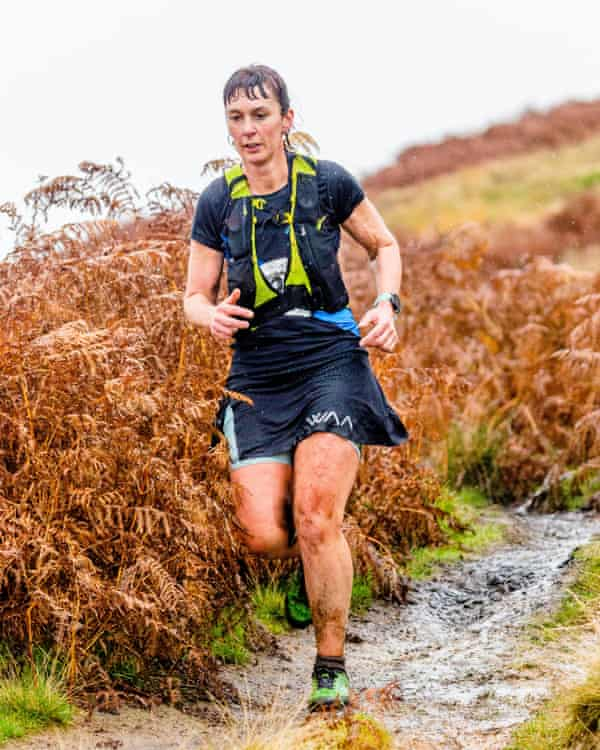 Rose George during the Shepherds Skyline fell race in the Calder Valley, West Yorkshire.