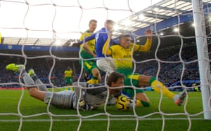 Norwich City goalkeeper Tim Krul, who conceded an own goal in the first half, makes a last-ditch save during the match. The two sides drew 1-1 meaning Leicester dropped points for the first time in nine games.