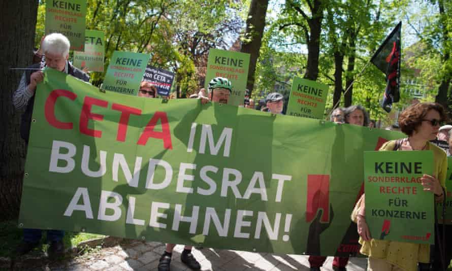German demonstrators protest against TTIP and CETA in Stuttgart earlier this year.