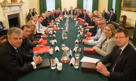 Theresa May's new cabinet. The number of white members of the government has not exactly plummeted: down from 113 to 111. The number of men has fallen from 89 to 82.