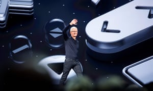 Apple CEO Tim Cook on stage the Worldwide Developer Conference in San Jose, California.