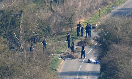 Police searching the area where Sian O'Callaghan's body was found.