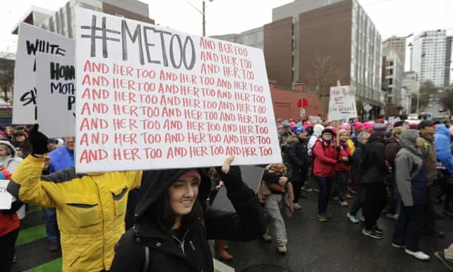 A women's march in Seattle, Washington, on 20 January 2018