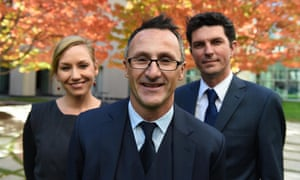 Newly elected federal Greens leader Richard Di Natale (centre) and his leadership team, Larissa Waters and Scott Ludlum, in Canberra on Wednesday.