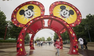 Tourists at Disneytown in Shanghai, China, on 5 May.