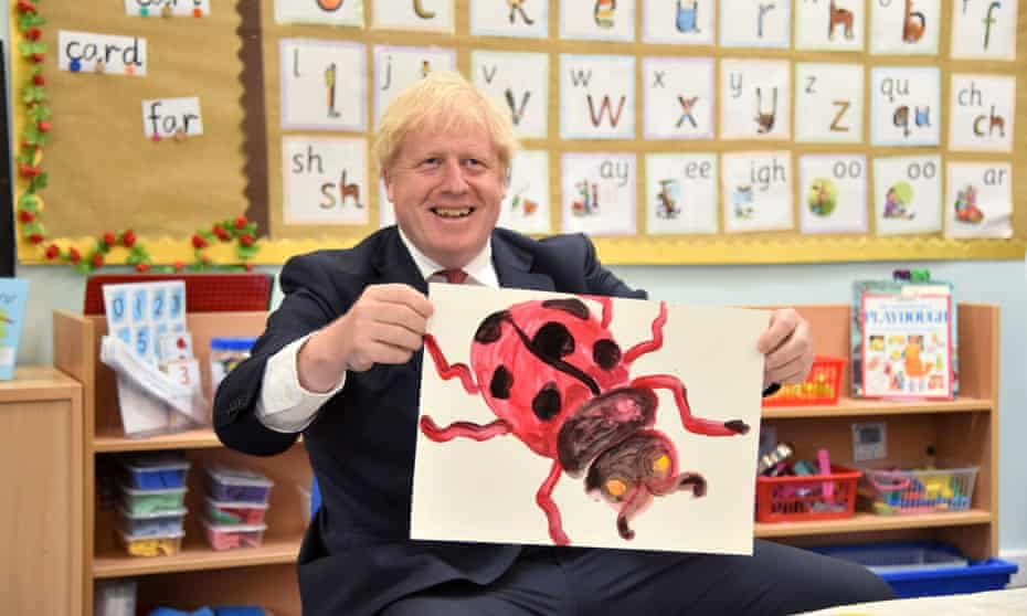 Boris Johnson with a painting of a ladybird he produced during a school visit