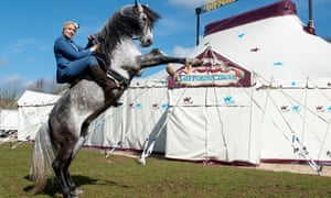 Nell Gifford with her stallion, Diamond, outside the big top in Stroud.