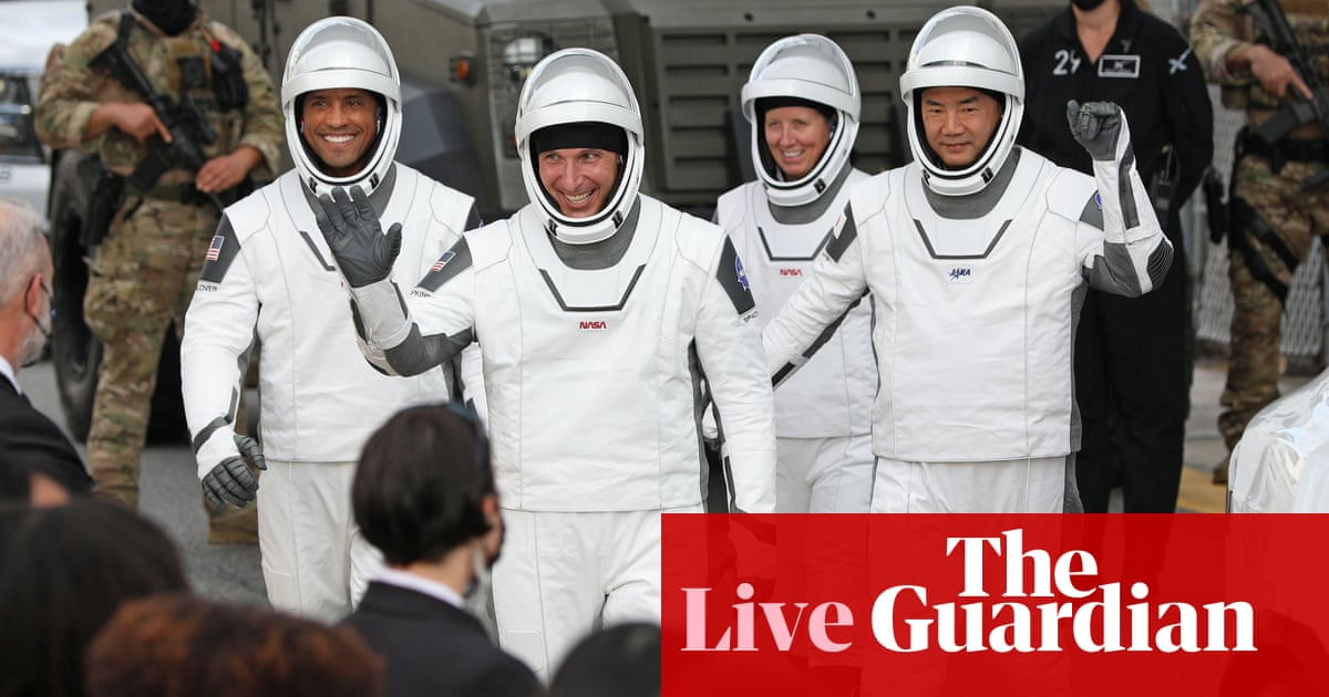 Nasa SpaceX launch live news: four crew liftoff onboard Dragon capsule – The Guardian