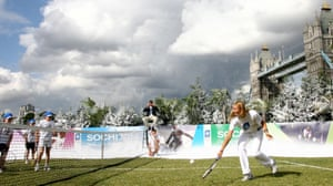 Maria Sharapova promoted Sochi's 2014 bid to become the first Russian resort to host the Olympic and Paralympic games at a number of events including playing a game of tennis with local school children in front of London's Tower Bridge
