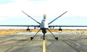 A British Royal Air Force MQ-9 Reaper UAV drone from British Royal Air Force taking off into the sky above Afghanistan.