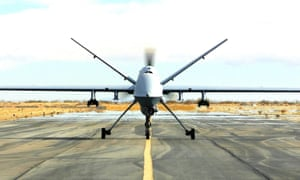 An RAF Reaper drone prepares to take off in Afghanistan.
