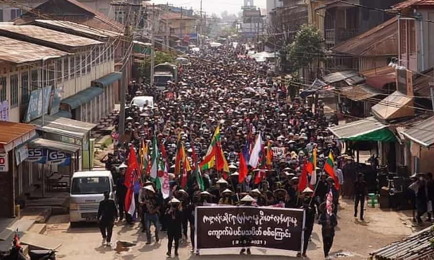 Protesters in Kyaukme, in Shan state, Myanmar