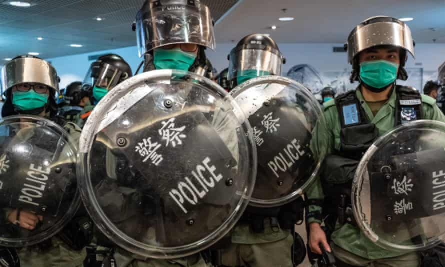 Riot police during a demonstration in a shopping mall in Hong Kong