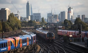 Trains at Clapham Junction station.