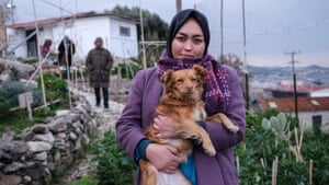 Sima Mohammedi, 26, a refugee volunteer from Afghanistan, in a garden at the One Happy Family community centre near Moria