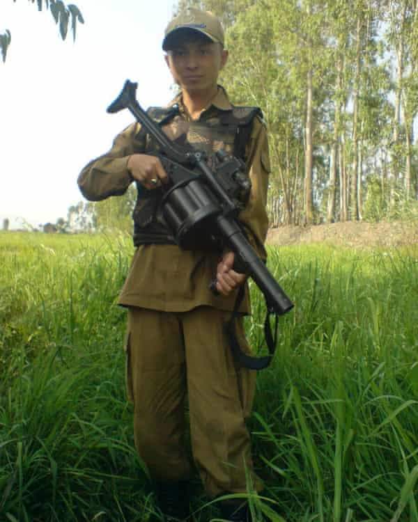Herojit with an under-barrel grenade launcher recovered from militants