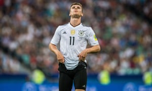 Germany v Cameroon: Group B - FIFA Confederations Cup Russia 2017<br>SOCHI, RUSSIA - JUNE 25: Timo Werner of Germany reacts after a chance during the FIFA Confederations Cup Group B match between Germany and Cameroon at Fisht Olympic Stadium on June 25, 2017 in Sochi, Russia. (Photo by Lukas Schulze - FIFA/FIFA via Getty Images)