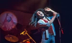 Bob Marley performing live at the Rainbow in London in 1977.