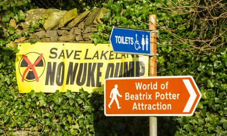 A banner protesting against a possible nuclear dump in the Lake District, Cumbria.