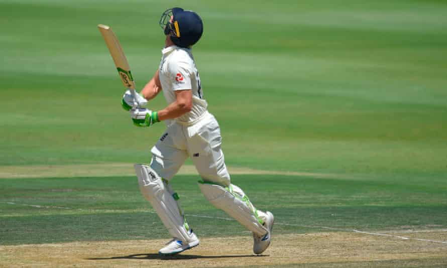 England's Jos Buttler watches with concern as his shot flies into the air during the fourth Test against South Africa in Johannesburg.