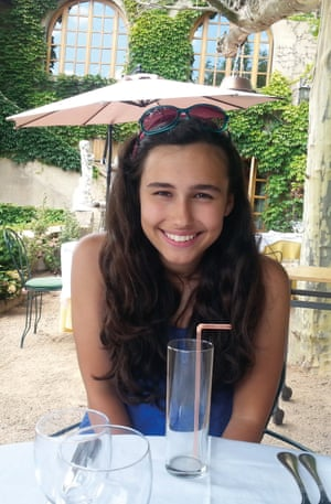 natasha ednan-laperouse seated at a hotel table with a tall soda glass in front of her