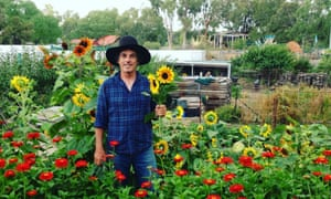 Farmer Steve and flowers at CERES