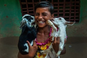 Tumpa Mondal, IndiaA girl plays with her pet goats at a village some 200 kilometers away from Kolkata