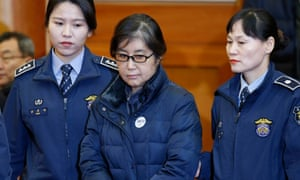 Choi Soon-sil attends court during her trial
