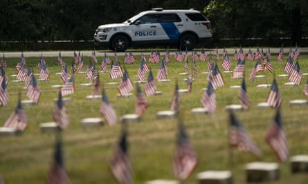 A police vehicle patrols the Gettysburg National Cemetery.