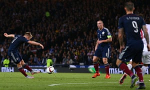 Scotland's Matt Ritchie scores a stunning goal from 25 yards in the Euro 2016 qualifier against Poland – but it was not enough