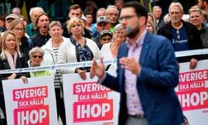 Sweden Democrats leader Jimmie Åkesson giving a speech in Landskrona, southern Sweden.