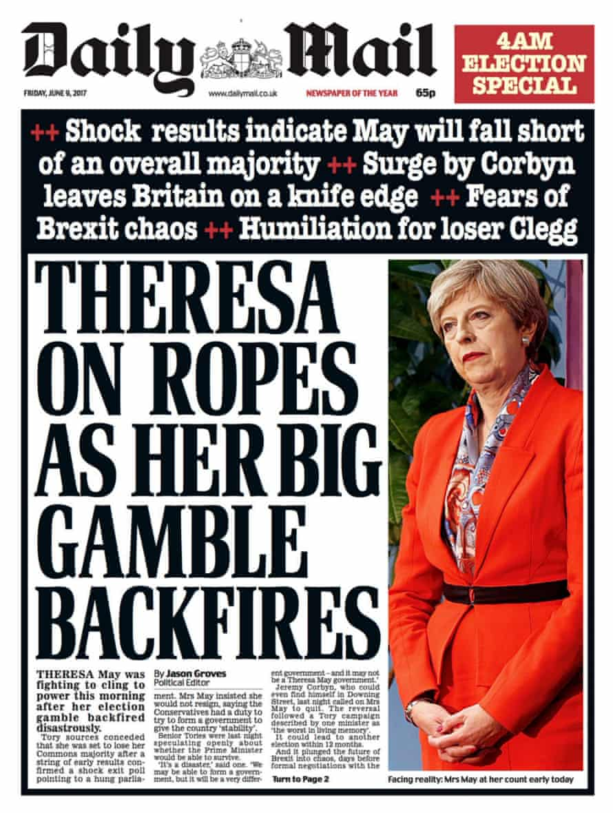 The Daily Mail's front page after the election.