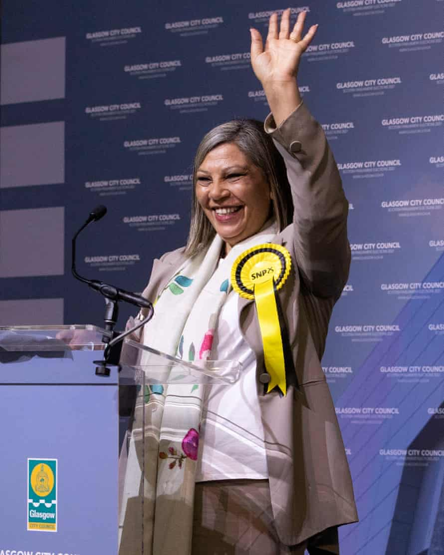 Kaukab Stewart on stage after winning Glasgow Kelvin for the SNP in the Scottish parliamentary elections.