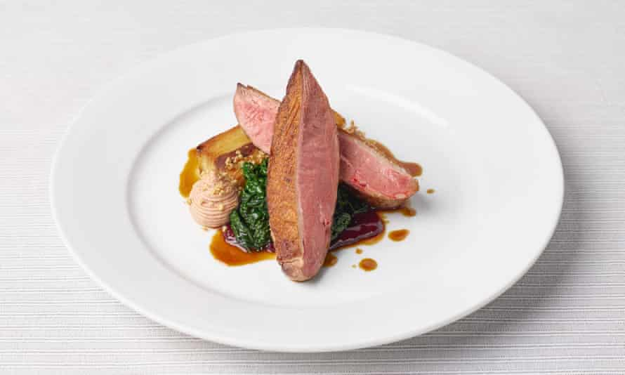 'Here are damsons from the estate, and whorls of a smooth, duck liver parfait and a few crushed hazelnuts': duck breast.