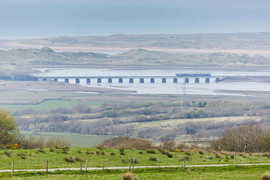 The railway line that meanders through the national park crossing the Esk estuary.