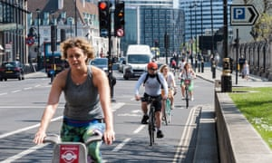 People cycling on quiet roads in Westminster, central London