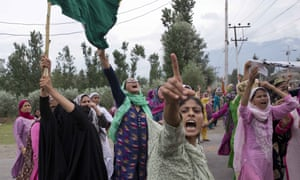Female Muslim protesters in Srinagar faced police firing teargas and rubber pellets on Friday.