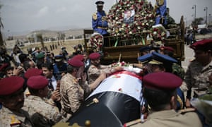 Funeral of a senior Houthi official who was killed by a Saudi-led coalition airstrike in Sanaa, Yemen