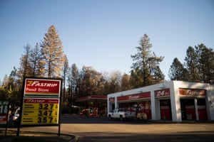 The Fastrip gas station, where people sheltered during the fire.