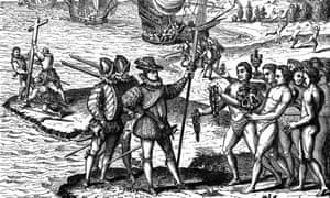 Christopher Columbus's fateful encounter with America on 12 May 1492. From an engraving by Theodore de Bry 1590.