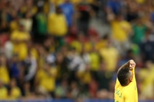 Neymar Jr reacts with dismay as Brazil draw with Iraq in the soccer at Mane Garrincha Stadium.