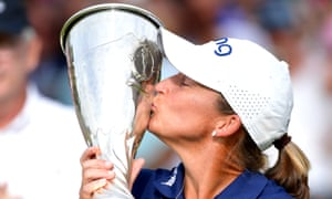 Angela Stanford of the United States celebrates winning the Evian Championship, her first major at the 76th time of asking, and with it a prize of £440,000.
