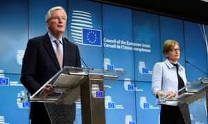 Michel Barnier and Bulgarian vice premier minister and Foreign minister Ekaterina Zaharieva speaking during a joint press conference after a general affairs council meeting today.