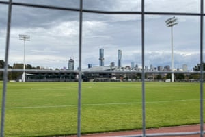 Temporary fencing has been erected at the AFL home base of the Collingwood Magpies in Melbourne